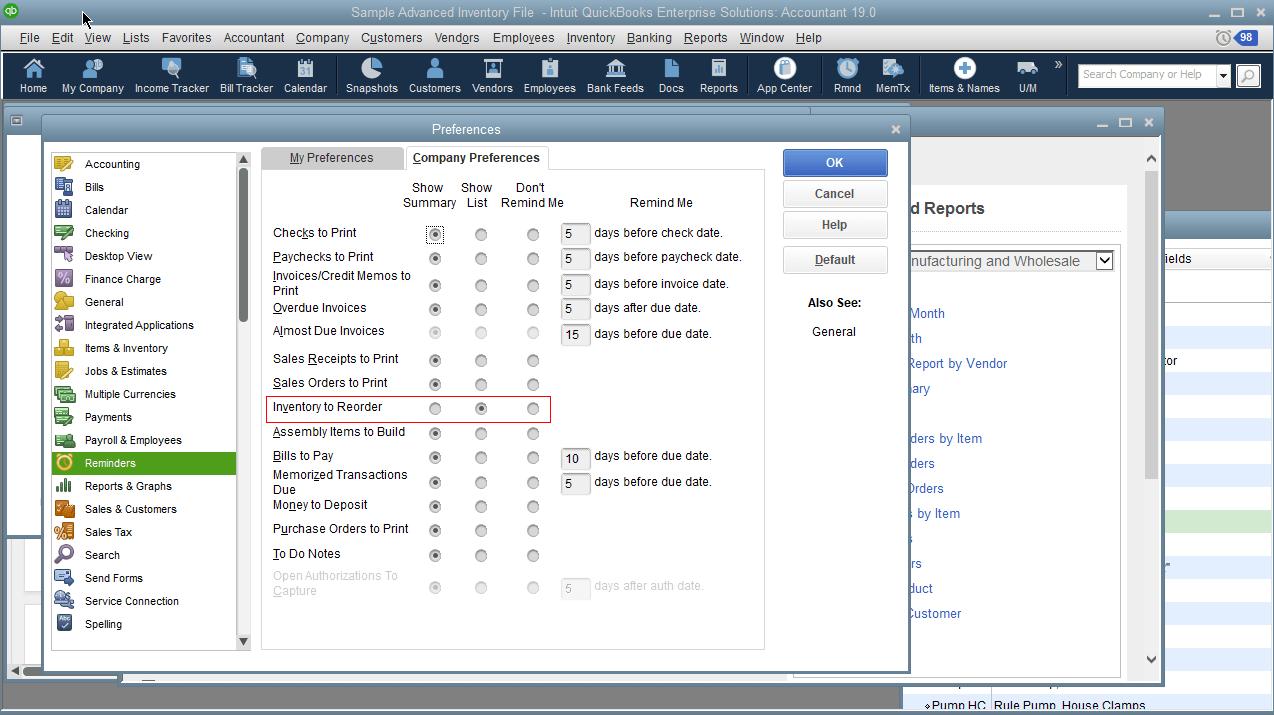 quickbooks-enterprise-reminders-settings-preferences