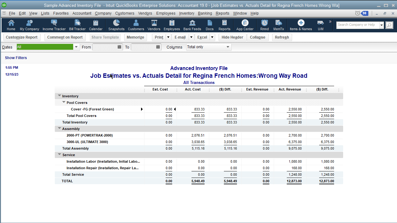 """You can get there by clicking on the hyperlink """"Estimates vs Actuals"""". Based on what's on screen, so far, it does not appear the report will provide substantial information. Let's see what the results are from running that report:"""