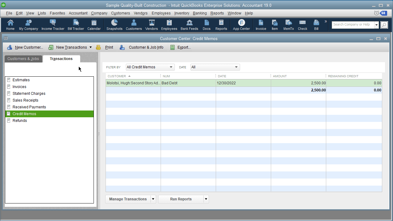 An occasional occurrence may be the misplacement of a credit to a job/project, while intending to credit another. Thankfully, QuickBooks Desktop 2019 – QuickBooks Pro, QuickBooks Premier, QuickBooks Accountant Edition or Enterprise – has the capability to transfer credits among jobs more smoothly than past versions, where it only takes a couple of button clicks.  We do have a recording of this feature in action from our webinar where we highlighted the many new features found in QuickBooks Desktop 2019.
