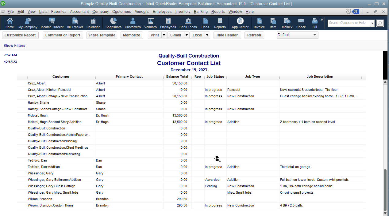 Here is an example report, after removing irrelevant columns and adding relevant columns to the report. I'm sure there are some other columns coming to mind you may want to add to this, as well.  Given the amount of time such customization may take, you can can rest easy in the ability to memorize the report; this report can then be exported – so you can restore it in the event you run into data integrity issues.