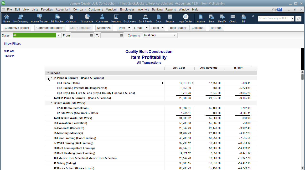 This Item Profitability report shows an item-by-item breakdown of profitability, and the overall item profitability – when scrolling all the way to the bottom.  At the end of the day, these are only a few of the reports you can run to track how jobs, or projects play a role in your company's financial fitness. Although we did use specific company files to illustrate principles and concepts discussed, you can use this type of tracking and reporting for other industries.