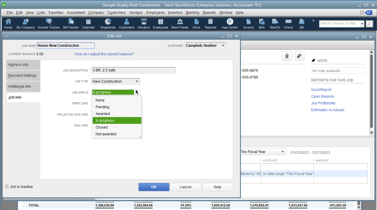 When you make fuller use of the Job Status drop down for your customer, especially when taking advantage of  In Progress and Closed dropdown options, you can use the  Jobs WIP Summary report in QuickBooks Desktop.