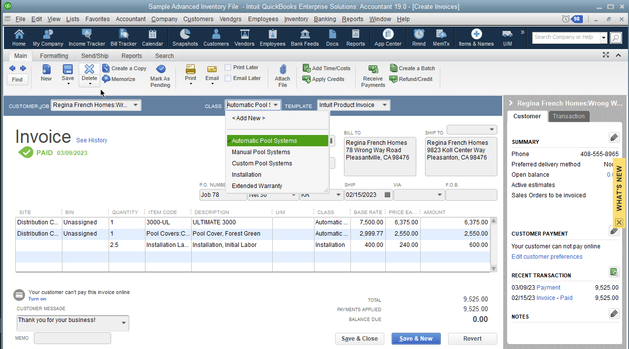"""Zooming into the highlighted invoice, you see how the sample company relates to the sub entities more clearly. The flag of """"Automatic Pool Systems"""" in the class dropdown indicates this transaction is for a a purchase of one of the company's automatic pool systems.  It involves item purchases: two inventory part purchases – the Ultimate 3000 pool system, and a Forest Green Pool Cover; and a service item: Installation labor. The service item is conveyed in the invoice through its Site and Bin rows being unpopulated – as it doesn't draw any quantity."""