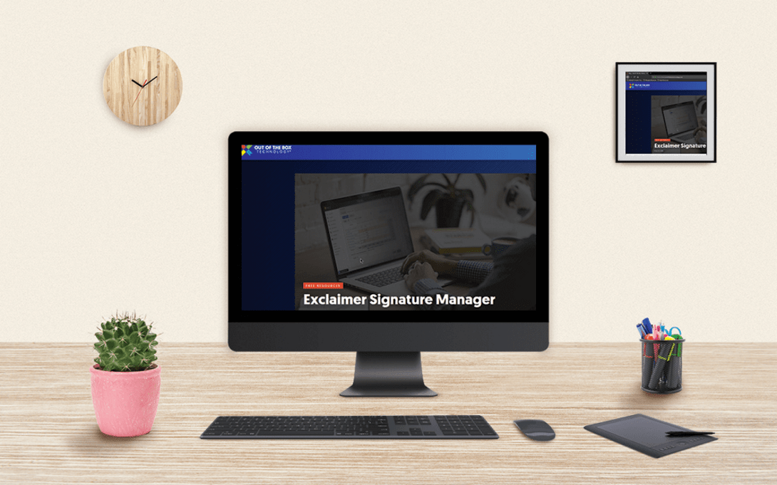 this technology tuesday recap highlights one of the tools used by out of the box technology: exclaimer signature - a way to manage email signatures. It supports many platforms - including outlook or Microsoft Office 365/Exchange.