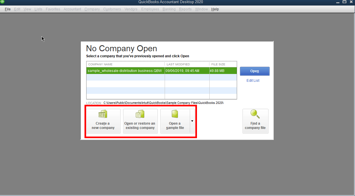 QuickBooks Desktop still has the tried and true buttons found from previous versions of QuickBooks. Additionally, you can now search for your files from the additional button found.