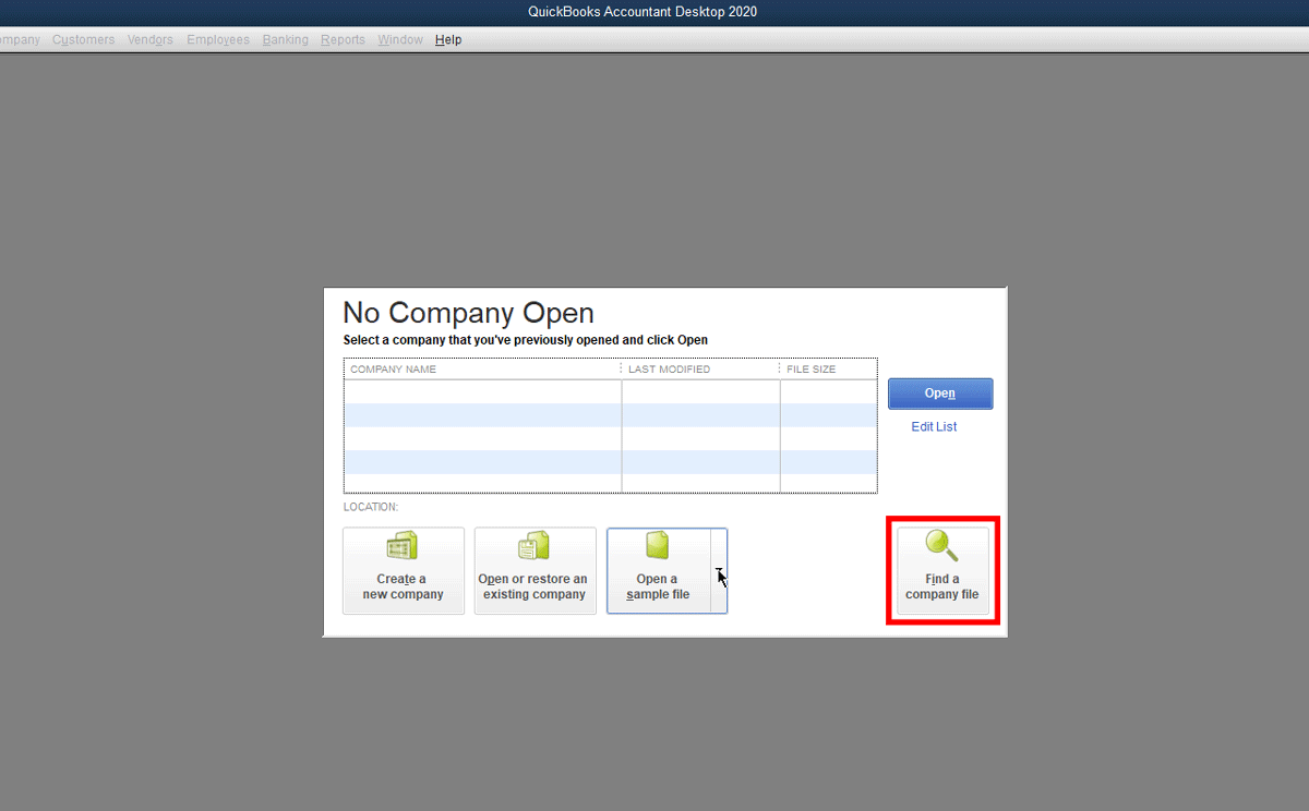 one of the niftiest features in quickbooks desktop 2020 is the find your company file feature. It will a very targeted search for any file type used by QuickBooks: accountant copy, QuickBooks portable file and others!