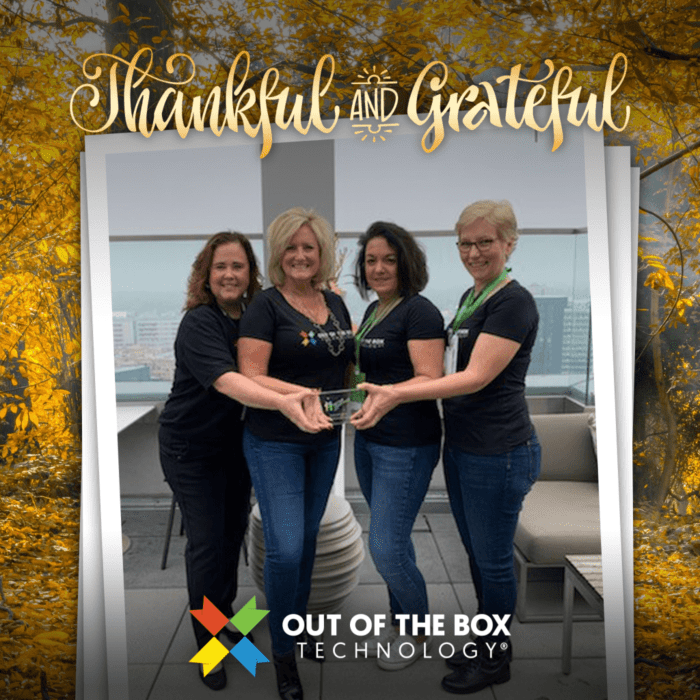 out of the box trailblazer award winners with powerful accounting dawn brolin and our vicki borror of quality accounting solutions. Also present is our ceo denise loter-koch.