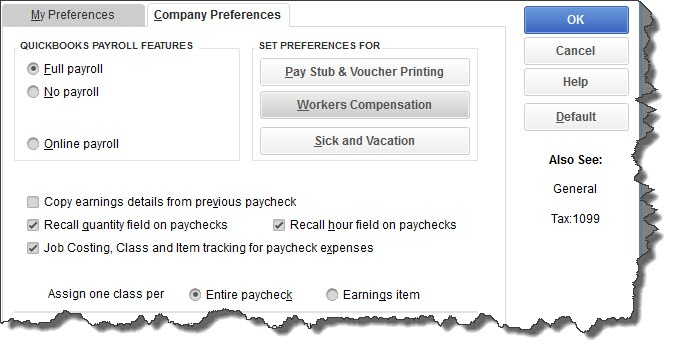 QuickBooks Payroll Features Company Preferences Full Payroll Entire Paycheck
