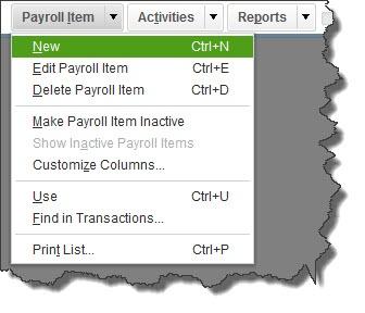 Payroll Item List New Ctrl + N